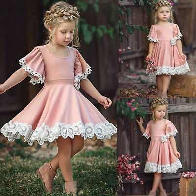 Summer Toddler Kids Baby Girl Floral Party Lace Sleeve Princess Dress Clothes PK