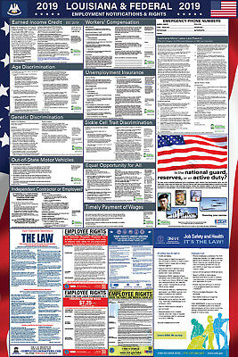 2019 Louisiana and Federal Laminated Labor Law Poster PREORDER
