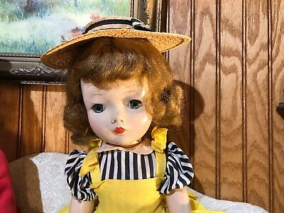 """vintage Madame Alexander 18"""" Cissy face Binnie walker doll in tagged 1953 outfit"""