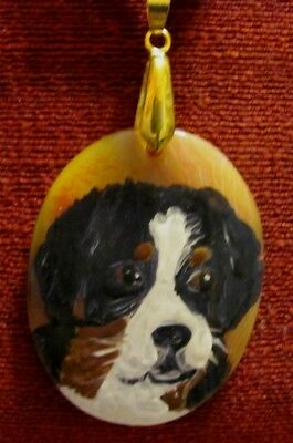 "Bernese Mountain Dog hand painted on 2"" oval Onyx Agate pendant/bead/necklace"