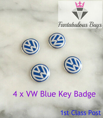4 x VW Remote 3D Key Fob Badge Sticker Logo Replacement 14mm original blue white