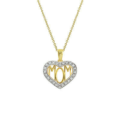 Mothers Day 1/10 Ct Round Diamond Mom Heart Pendant In 14K Yellow Gold Over