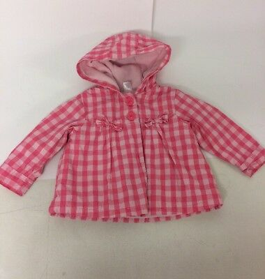 Next Baby Girls Pink Jacket Coat Hooded Age 12-18 Months Fleece Lined Check Bow