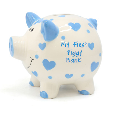 Large 'My First Piggy Bank' Blue Hearts Money Bank #LP28839