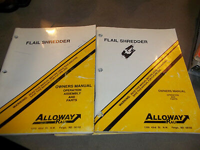 Alloway Flail Shredder Owners manual & Operation, Assy, Parts (lot of 2)