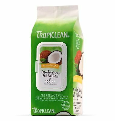 TropiClean Hypo Allergenic Deodorizing Pet Wipes, 100 count