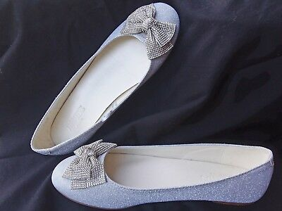 White/Silver glitter ballet flats with bows,Women's size 9. David's Bridal