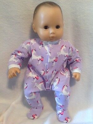 """15"""" Bitty Baby Purple Unicorn sleeper pajamas twins girl Doll Clothes outfit"""