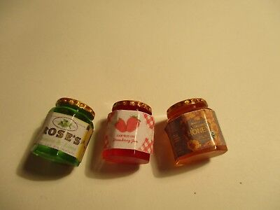 3 Dolls House Miniature Jars Of Honey, Strawberry Jam And Lime