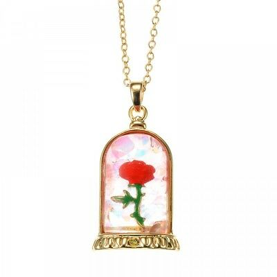 New Disney Store Japan Necklace Beauty and the Beast Rose Hologram From Japan