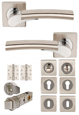 ULTIMO Dual Satin Nickel/CP Lever on Square Rose Door Handles AccessoriesLatches