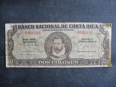 1942 Costa Rica Circulated 2 Colones Note Banknote