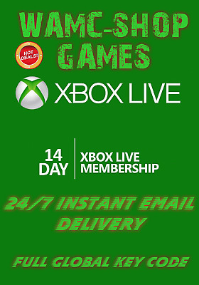 Xbox Live 14 Day Gold Trial-Membership-Code Instant Delivery-2 Weeks -14 Days