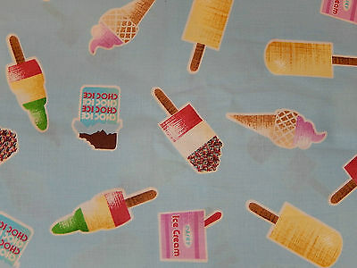 ICE CREAM POPSICLES ON BLUE 100% cotton fabric TIMELESS TREASURES OOP HALF YD