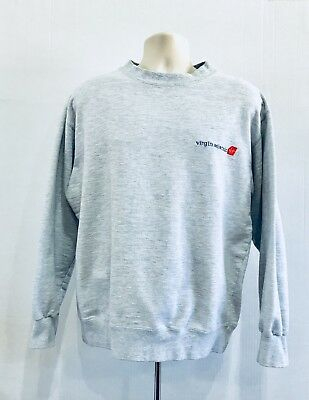 Virgin Atlantic Unisex LS Crewneck Sweatshirt Gray Airline Airplane Adult XL