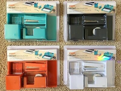 Poppin All Set Desk Collection - 12 Pc Set - 4 Colors To Choose - Pick Any 2