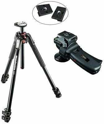 Manfrotto MT190XPRO3 3 Section Aluminum Tripod, 322RC2 Tripod Head & 2 QR Plates
