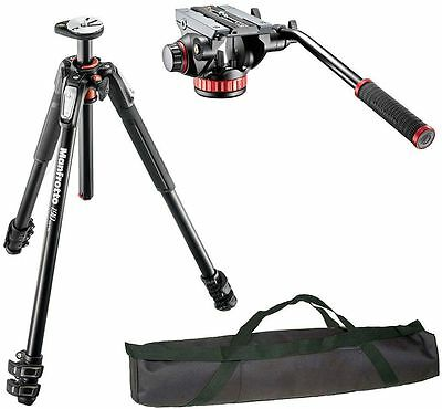 Manfrotto MT190XPRO3 3 Section Aluminum Tripod Kit w/MVH502AH video kit and case