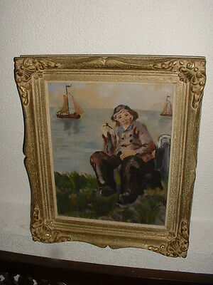 Old oil painting, { Fisherman is smoking his pipe, is signed, nice frame}.