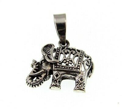 Handcrafted Solid 925 Sterling Silver Ornate Filigree Elephant Pendant Charm