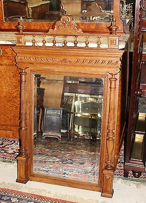 Large Ornate French Antique Tall Oak Wood Wall Mirror Decorative Furniture