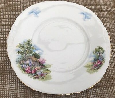 Royal Vale Country Cottage Cake Serving Plate  Fine Bone China Pat 7382