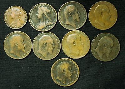 Lot of 9 Great Britain One Penny 1900-1910 & 1861 Half Penny