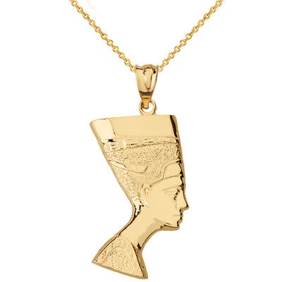 14k Solid Yellow Gold Egyptian Queen Nefertiti Face Statue Pendant Necklace