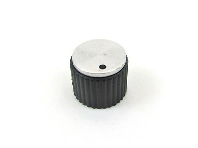 "3/4"" Glossy Black Knob w/Aluminum Insert & Dot - 1/4"" Shaft - Ray. DS70-1BD-2"