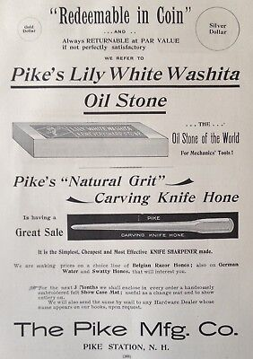 1895 Ad(28)~The Pike Mfg. Co. Pike Station, Nh. Lily White Washita Oil Stone