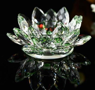 Candle Holder, Real Crystal Green Lotus Flower, Tea or Pillar Candle, Real