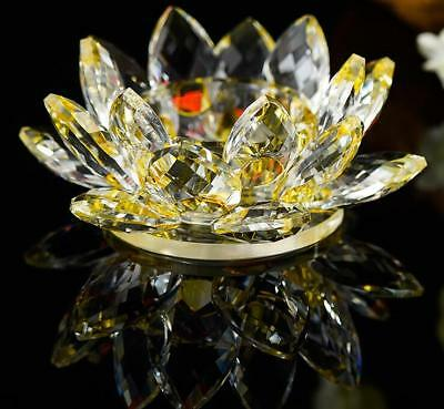Candle Holder, Crystal Gold Lotus Flower, Tea or Pillar Candle, Buddha, Real