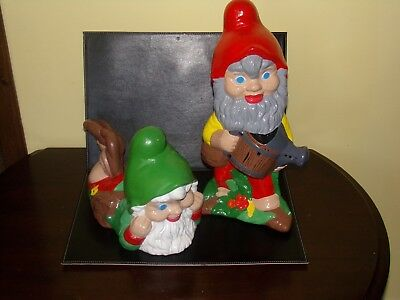 """Two Christmas Garden Gnomes Ceramic Elf's Vintage Figurine Hand Painted 17""""&13"""""""