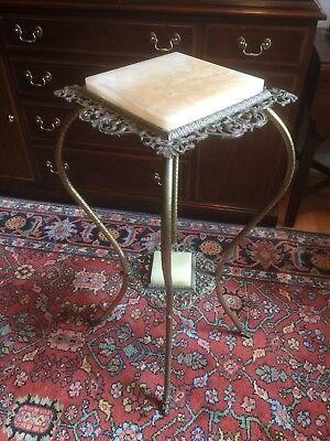 Victorian Alabaster (or Onyx) & Metal Plant/Fern Stand (circa early 1900's) (#2)