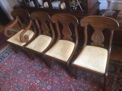 HENKEL HARRIS Mahogany Brewster Arm (1) & Side (3) Dining Room Chairs - No.100