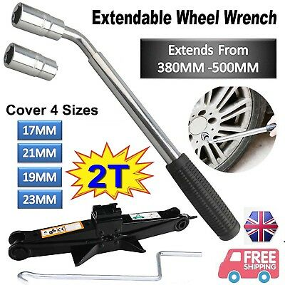 Heavy Duty Van Extendable Wheel Car Brace Socket Tyre Nut Wrench 2T Scissor Jack