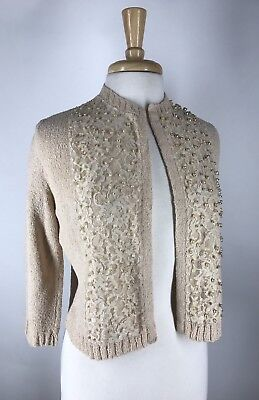 Adorable! Vtg 50s Beaded Lace Pearls Cardigan Sweater M