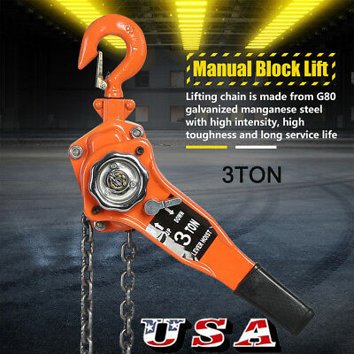 3Ton/6600LBS Chain Block Hoist Ratchet Hoist Ratchet Lever Pulley Lifting 3M US