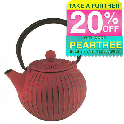 Avanti Ribbed 500ml Cast Iron Teapot Red Tea/Coffee Kettle Pot w/ Tea Strainer