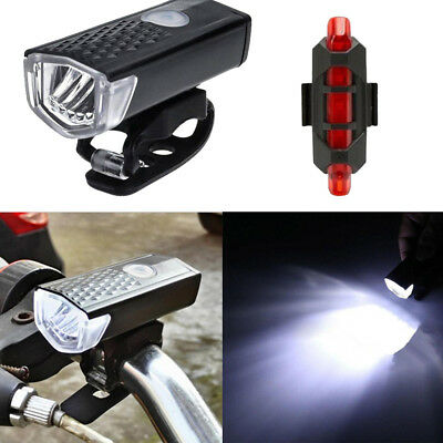 USB Rechargeable LED Bike Bicycle Cycling Headlight Front Light Tail Rear Lamp F