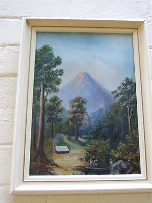 "ANTIQUE NEW ZEALAND  OIL PAINTING  ''MT BLACK "" SIGNED- C. CAMERON - ART 1900's"