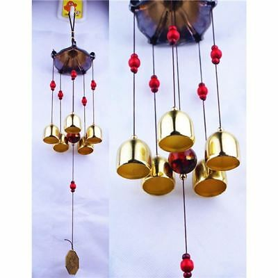 Large Size 5 Bells Copper Metal Antirust Wind Chimes For Home Decoration NP179