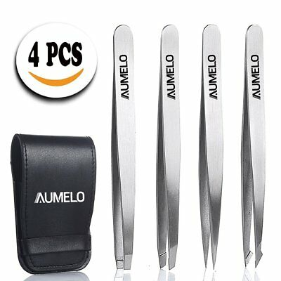 Tweezers Set 4-Piece Professional Stainless Steel with Travel Cas