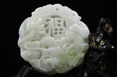 New China natural Lantian jade carved amulet  Dragon Pendant Necklace  Dragon