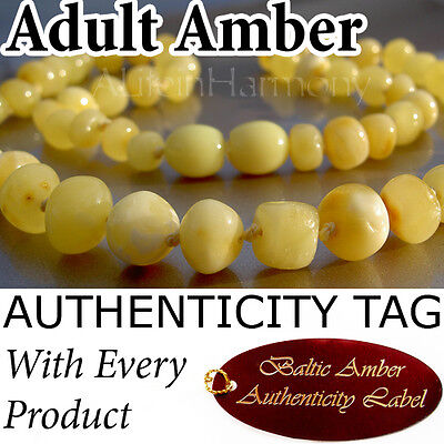 RARE BUTTERSCOTCH Authentic Baltic Amber ADULT NECKLACE Natural Health