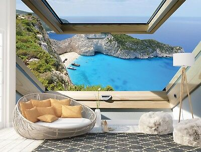 Wall Mural Photo Wallpaper Picture EASY-INSTALL Fleece 3D Turquoise Sea Window