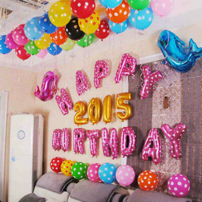 Uk 16 Inch Large Banner Happy Birthday Self Inflating Ballon Bunting Party/Decor