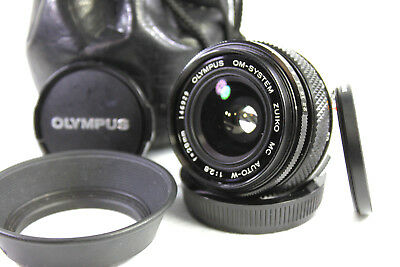 OLYMPUS ZUIKO MC AUTO-W 1:2.8 F=28mm Wide Angle Lens Plus Caps, Filter and Case.