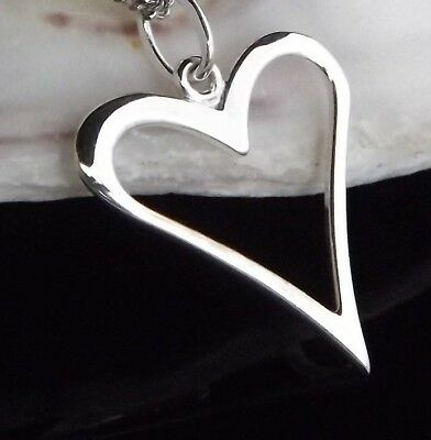 Sterling Silver 925 Heart Outline Pendant Charm Gift Bag Quality Jewellery UK