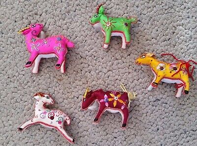 beautiful collectable embroidered goat ornament x 5 pcs traditional folk art